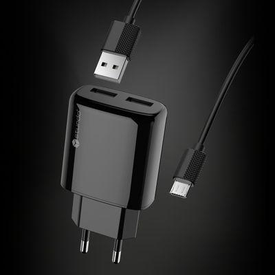 Adapter Sturdo síťový nabíjecí s káblem 2xUSB 2A černý