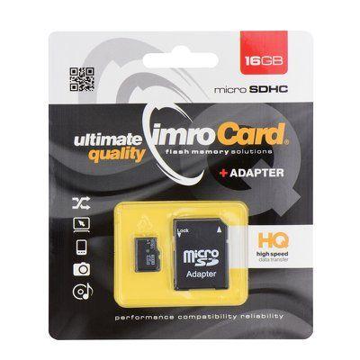 Paměťová karta 16GB Imro microSDHC class 6 s adaptérem PT