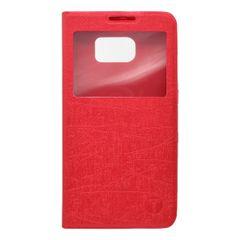 Pouzdro knížka Samsung G920 Galaxy S6 červené s okénkem