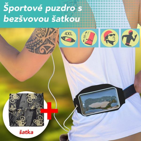 Pouzdro sportovní běžecké na pás černé + sportovní šátek. Zobrazit v plné  velikosti 267d3e5c6c