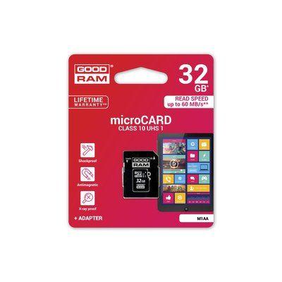 Paměťová karta 32GB Goodram microSDHC class 10 s adaptérem PT