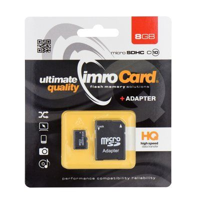 Paměťová karta 8GB Imro microSD Trans Flash SD Class10 s adaptérem