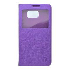 Pouzdro knížka Samsung G920 Galaxy S6 fialové s okénkem