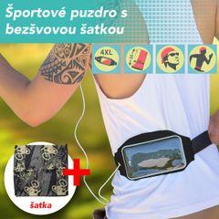 Pouzdro sportovní běžecké na pás černé + sportovní šátek